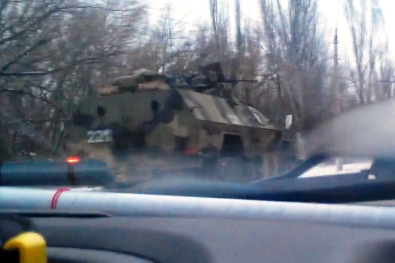 Invasion of Russia to Ukraine troops, tanks column